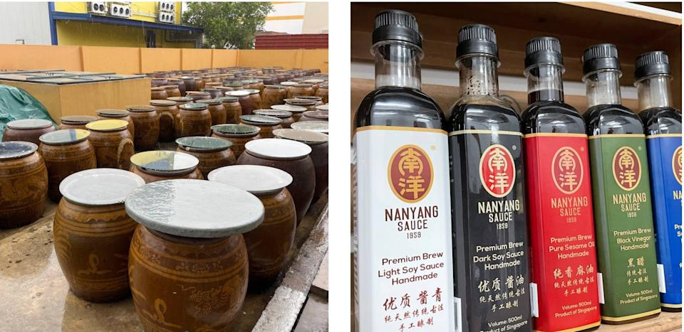 Non-GMO or whole soya beans are fermented for nine months in vats at Nanyang Sauce's factory (left), before being made into soy sauce. (PHOTO: Nicholas Yong/Yahoo News Singapore)