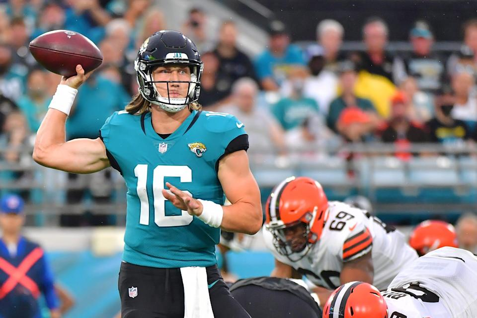 Trevor Lawrence #16 of the Jacksonville Jaguars throws a pass in the first quarter against the Cleveland Browns during a preseason game at TIAA Bank Field on August 14, 2021 in Jacksonville, Florida.