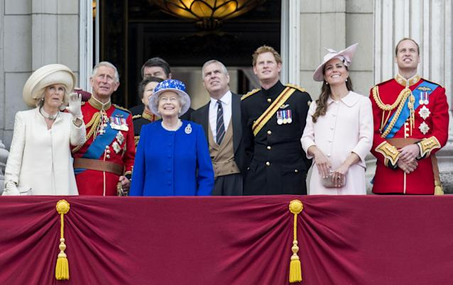 LONDON, ENGLAND - JUNE 15: Queen Elizabeth II, Prince Charles, Prince of Wales, Camilla, Duchess of Cornwall, Prince William, Duke of Cambridge, Catherine, Duchess of Cambridge, Prince Harry and Prince Andrew, Duke of York during the annual Trooping The Colour ceremony at Buckingham Palace on June 15, 2013 in London, England. (Photo by Mark Cuthbert/UK Press via Getty Images)