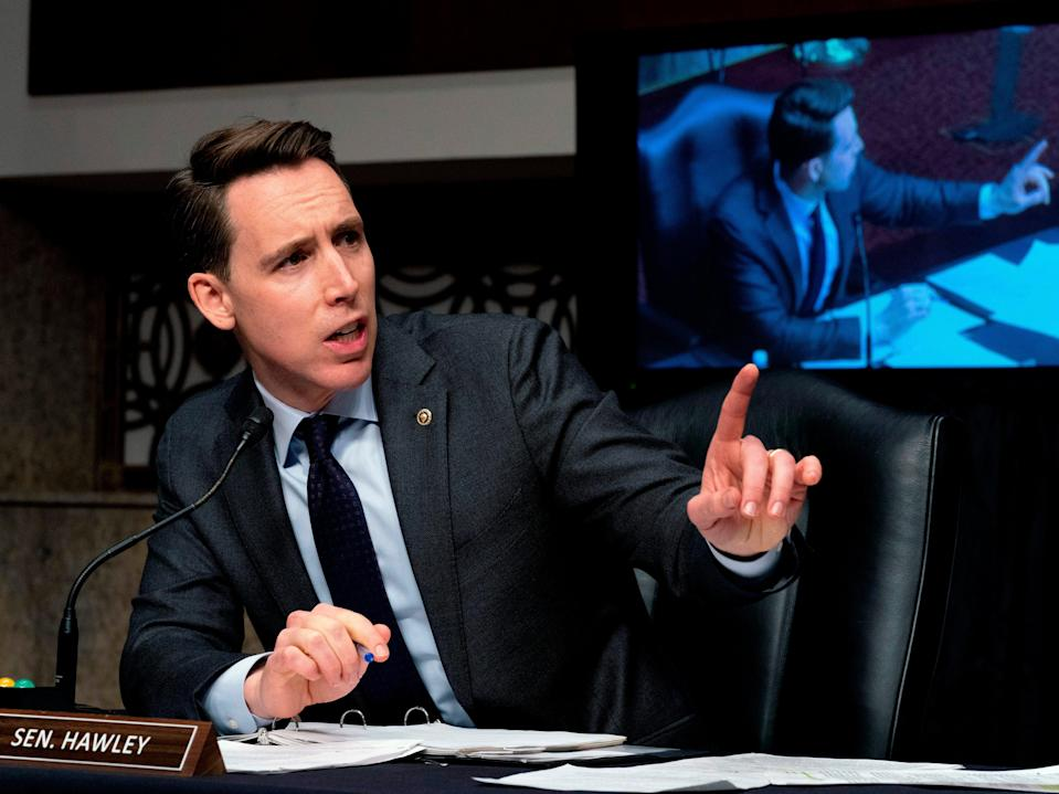Josh Hawley speaks at a Senate hearing on Capitol Hill on February 23, 2021. (POOL/AFP via Getty Images)