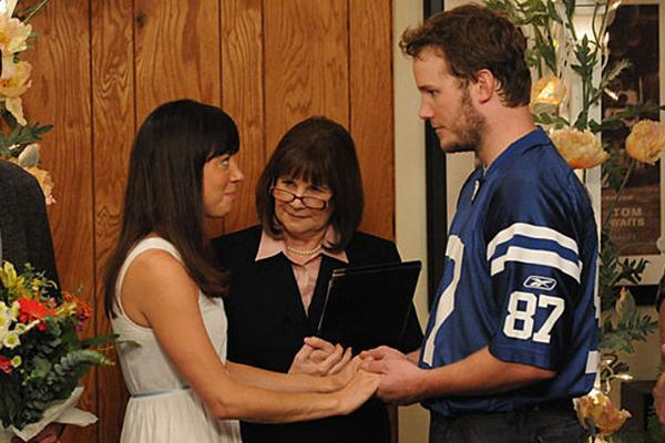 Andy and April (Parks and Recreation):  Andy and April aren't characters renowned for tradition, so when they invite Pawnee's parks department for a potluck, everyone arrives only to realize they're attending a wedding. As Leslie tries to stop it, Andy and April's admiration for each other quiets her worries, and their cliché-free ceremony brings tears to the masses.