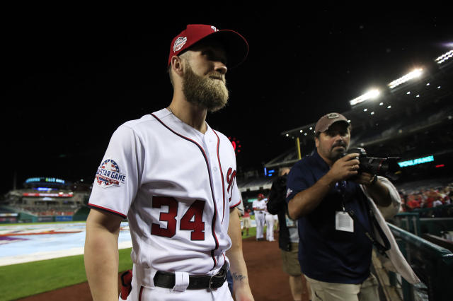 "<a class=""link rapid-noclick-resp"" href=""/mlb/teams/was"" data-ylk=""slk:Nationals"">Nationals</a> owner Ted Lerner reportedly does not expect superstar Bryce Harper to return. (AP)"