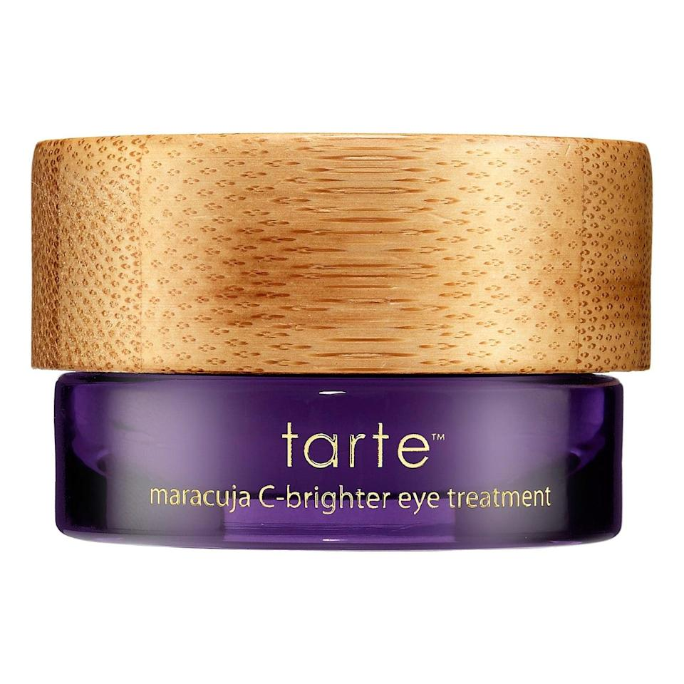 """<p>The rich <a href=""""https://www.popsugar.com/buy/Tarte-Maracuja-C-Brighter-Eye-Treatment-553532?p_name=Tarte%20Maracuja%20C-Brighter%20Eye%20Treatment&retailer=sephora.com&pid=553532&price=38&evar1=bella%3Auk&evar9=47275268&evar98=https%3A%2F%2Fwww.popsugar.com%2Fbeauty%2Fphoto-gallery%2F47275268%2Fimage%2F47275278%2FTarte-Maracuja-C-Brighter-Eye-Treatment&list1=shopping%2Csephora%2Ceye%20cream%2Cvitamin%20c%2Cbeauty%20shopping&prop13=api&pdata=1"""" rel=""""nofollow noopener"""" class=""""link rapid-noclick-resp"""" target=""""_blank"""" data-ylk=""""slk:Tarte Maracuja C-Brighter Eye Treatment"""">Tarte Maracuja C-Brighter Eye Treatment</a> ($38) features antioxidant plant extracts to fight those pesky free radicals that can cause puffy or droopy skin under your eyes. There are also light-reflecting particles to counteract any darkness, fatty-acid- and vitamin-C-rich maracuja (aka passionfruit) to hydrate and brighten skin, and more than 40,000 loves from other Sephora shoppers.</p>"""