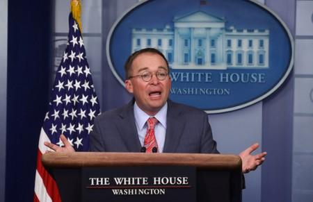 Acting White House Chief of Staff Mulvaney answers questions at media briefing at the White House in Washington