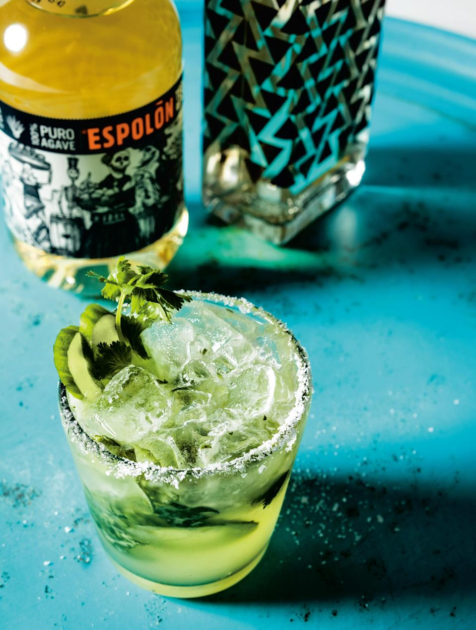 """You've probably found all the summer recipes you need in this gallery, but what about the drinks? This is a refreshing, summery spin on a margarita, with a touch of savory flavor that's great with <a href=""""https://www.epicurious.com/recipes/food/views/pulled-mushroom-tacos-salsa-guille?mbid=synd_yahoo_rss"""" rel=""""nofollow noopener"""" target=""""_blank"""" data-ylk=""""slk:tacos"""" class=""""link rapid-noclick-resp"""">tacos</a>. <a href=""""https://www.epicurious.com/recipes/food/views/cucumber-cilantro-margarita-trejos-tacos?mbid=synd_yahoo_rss"""" rel=""""nofollow noopener"""" target=""""_blank"""" data-ylk=""""slk:See recipe."""" class=""""link rapid-noclick-resp"""">See recipe.</a>"""