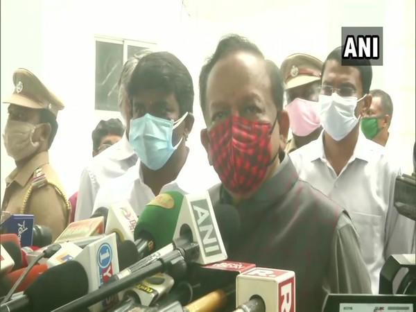 Union Minister Dr Harsh Vardhan speaking to reporters on Friday. Photo/ANI