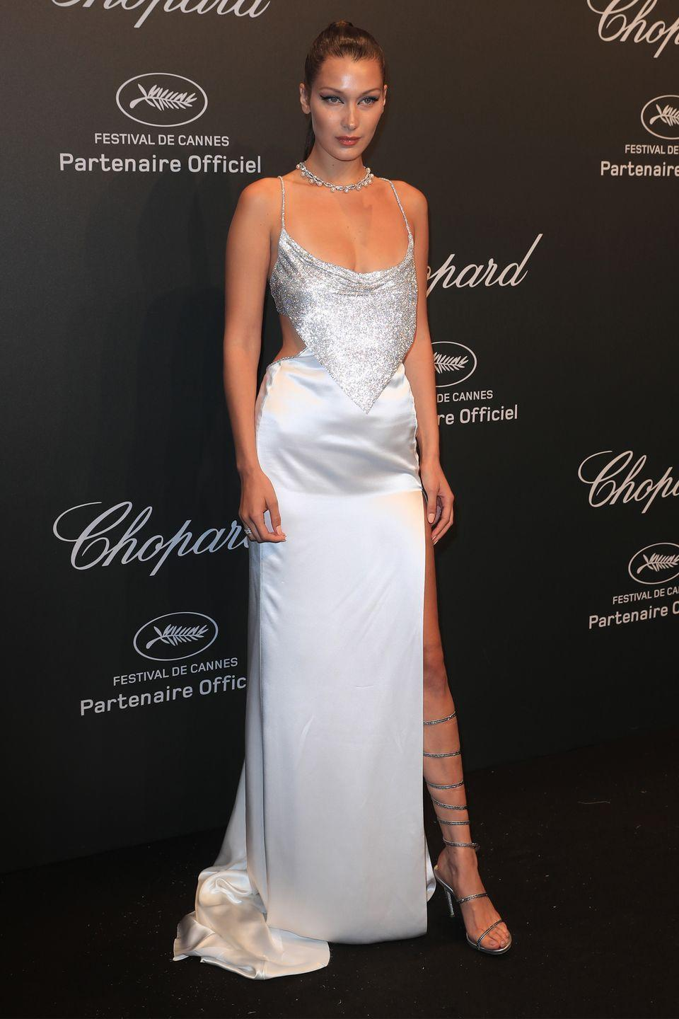 <p>In Roberto Cavalli couture at a Chopard party at Cannes Film Festival.</p>