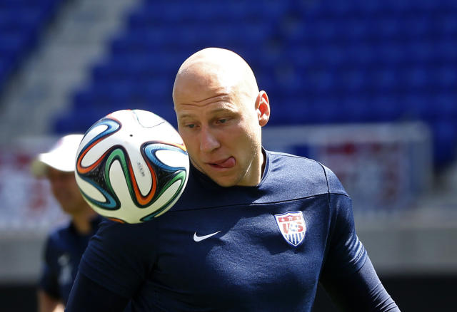Goalkeeper Brad Guzan of the U.S. men's national soccer team practices during a team training session in Harrison