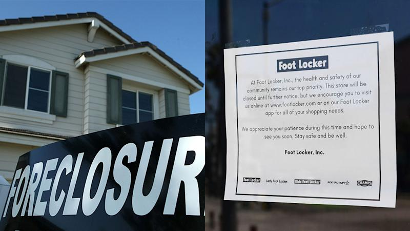 A house up for foreclose in 2008, next to closed for Covid-19 sign in 2020