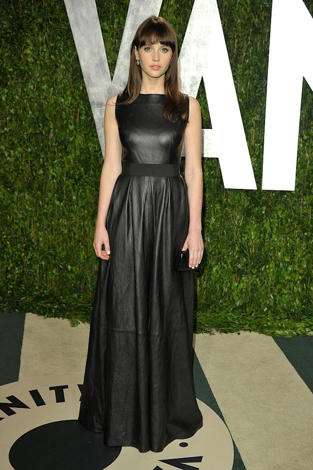 """Felicity Jones -- who was robbed of an Oscar nom for her work in """"Like Crazy"""" -- dressed to impress in a fashionable Johanna Johnson dress and minimal makeup."""