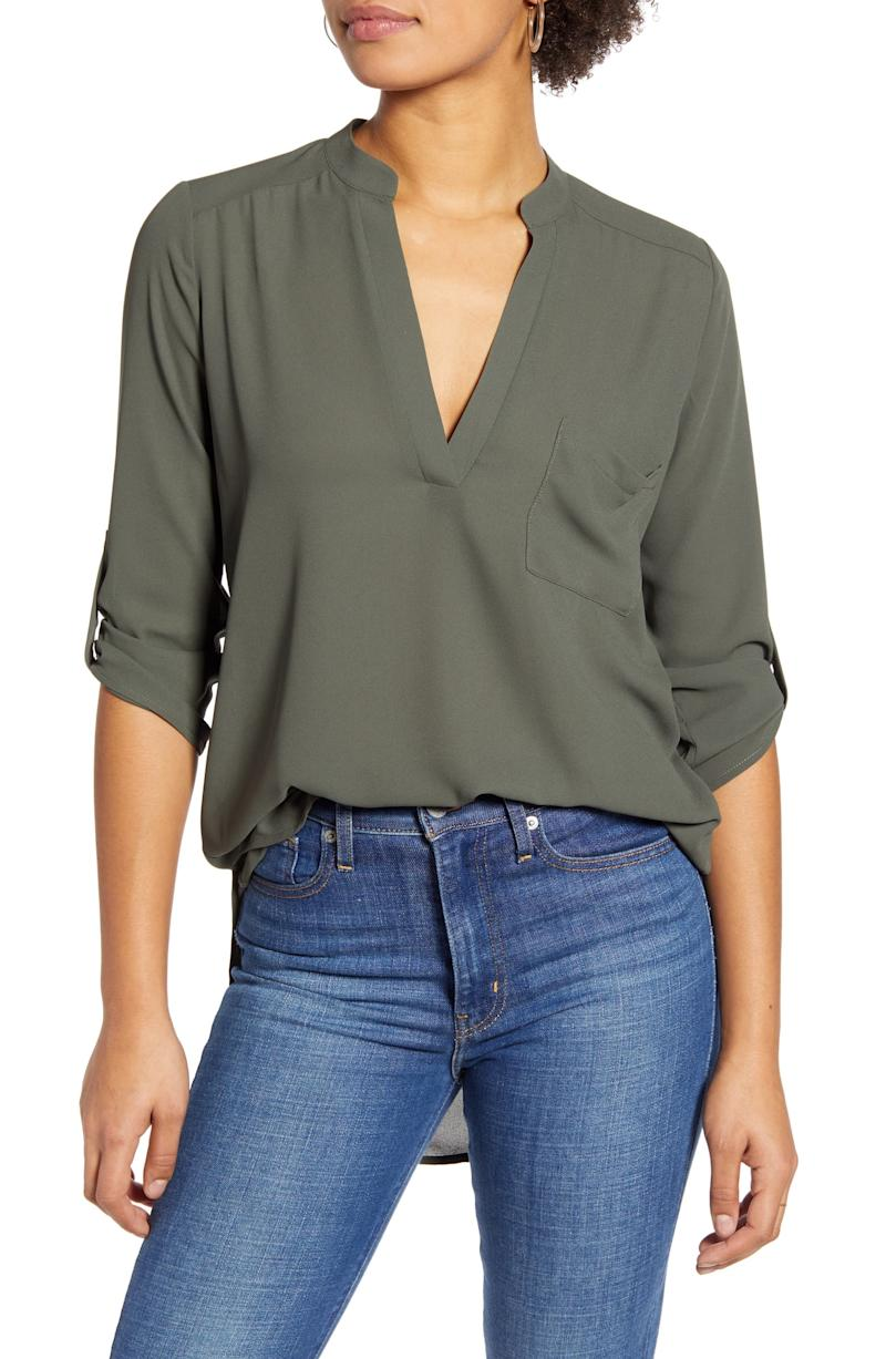 All In Favor Perfect Henley Tunic in olive night