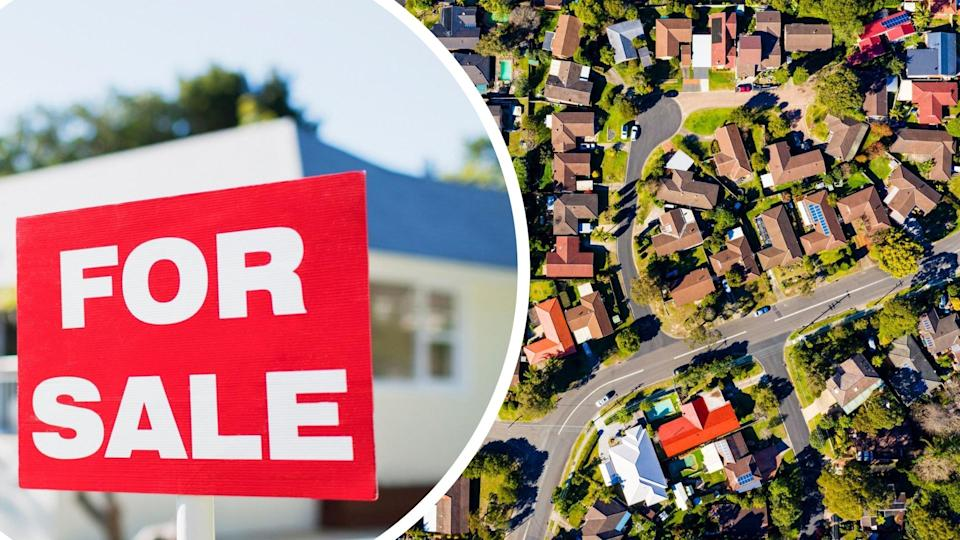 Pictured: Australian houses, for sale sign. Images: Getty