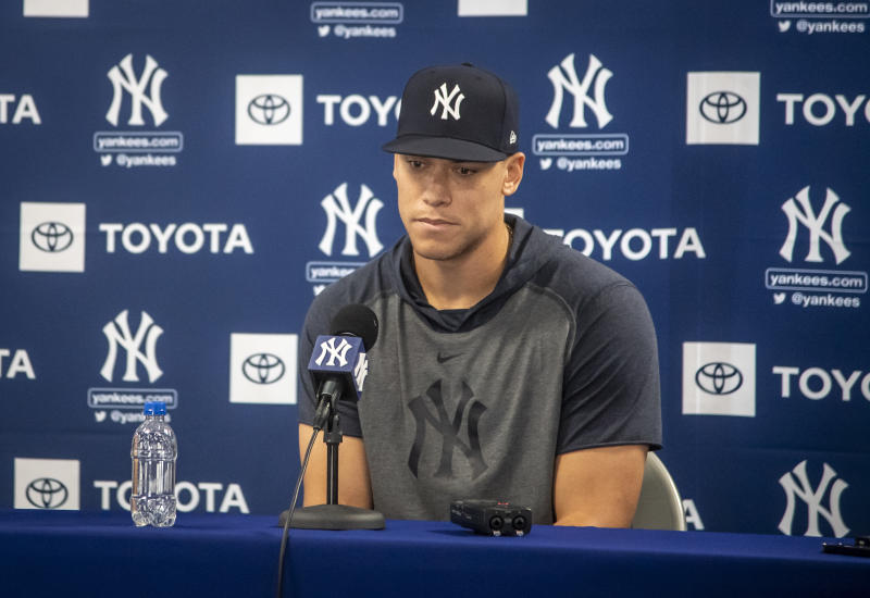 Aaron Judge and Giancarlo Stanton almost certainly won't be ready for opening day. (Photo by J. Conrad Williams, Jr./Newsday RM via Getty Images)