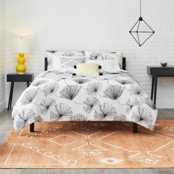 """<p>This modern design has a neutral color palette but a bold pattern, making it ideal for those who toe the line between minimalism and maximalism. The best part: this one addition will completely change the look of your bedroom, for less than $60. </p> <p><strong>To buy: </strong>$56, <a href=""""http://www.anrdoezrs.net/links/7876406/type/dlg/sid/RS%2CHomeDepot%2527sNewCollectionHasLuxeBeddingandBathTowels%2Ckholdefehr1271%2CDEC%2CIMA%2C677981%2C201910%2CI/https://www.homedepot.com/p/StyleWell-Sweeney-5-Piece-White-Black-Floral-Full-Queen-Comforter-Set-FA94630-FQ/308163438"""" target=""""_blank"""">homedepot.com</a>. </p>"""
