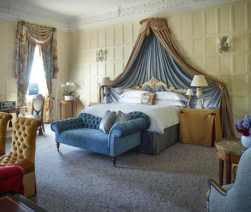 """<p><span>Forking out </span><b> £1,535</b><span> will give you access to the <a href=""""http://www.clivedenhouse.co.uk/stay-over/rooms/lady-astor-suite/"""" rel=""""nofollow noopener"""" target=""""_blank"""" data-ylk=""""slk:Lady Astor Suite"""" class=""""link rapid-noclick-resp"""">Lady Astor Suite</a> in this glamorous manor house, set in leafy Berkshire. You'll feel like the lady of the manor as soon as you step inside its decadent interior, which features high ceilings, opulent curtains and velvet chaise lounges. The hotel has manicured grounds, a spa, indoor and outdoor tennis courts and pools as well as a helipad. Natch. [Photo: Cliveden]</span> </p>"""