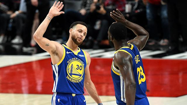 Stephen Curry and Draymond Green both posted triple-doubles in an history performance en route to the NBA Finals on Monday.