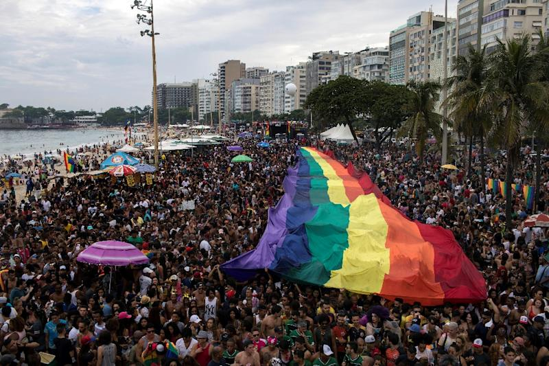 Thousands of people turned out for the gay pride parade at Copacabana beach in Rio de Janeiro, which did not receive city funds for the first time in 22 years (AFP Photo/LEO CORREA)