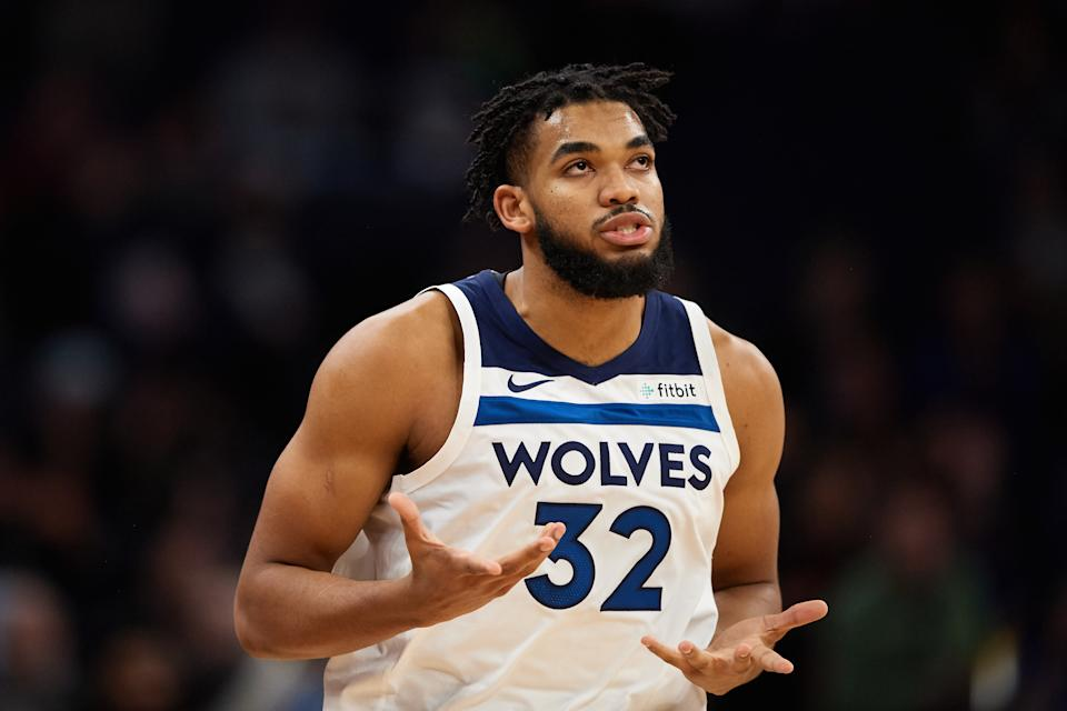 MINNEAPOLIS, MINNESOTA - NOVEMBER 20: Karl-Anthony Towns #32 of the Minnesota Timberwolves looks on during the game against the Utah Jazz at Target Center on November 20, 2019 in Minneapolis, Minnesota. NOTE TO USER: User expressly acknowledges and agrees that, by downloading and or using this Photograph, user is consenting to the terms and conditions of the Getty Images License Agreement (Photo by Hannah Foslien/Getty Images)