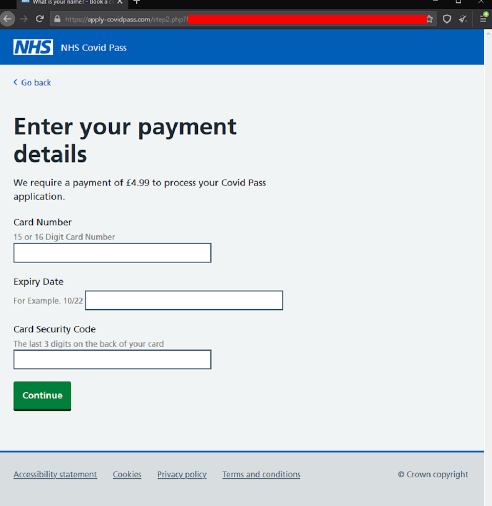 The fraudulent website has been designed to look identical to an official NHS page. (Malwarebytes)