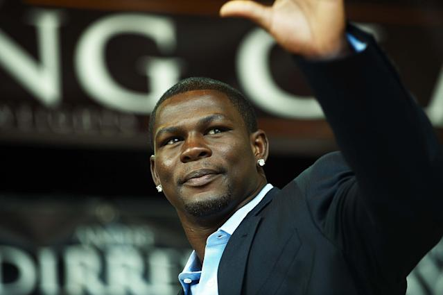 FILE - In this July 14, 2009, file photo, boxer Jermain Taylor gestures during a news conference in Copenhagen, Denmark. A judge has set bail at $25,000 for boxer Jermain Taylor after the former middleweight champion was jailed overnight in Little Rock, Ark., in connection with a shooting that wounded his cousin. Taylor appeared via video from the Pulaski County jail for an initial appearance Wednesday, Aug. 27, 2014. (AP Photo/POLFOTO, Jens Dige, File)