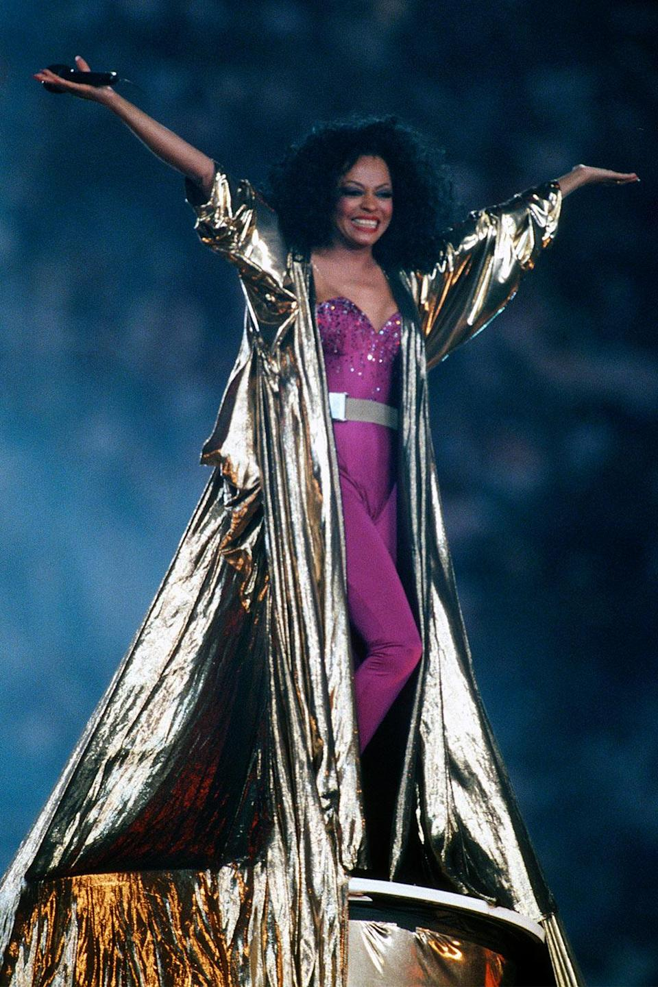 <p>In an epic gold jacket during the Super Bowl XXX halftime show in 1996 in Tempe, Arizona.</p>