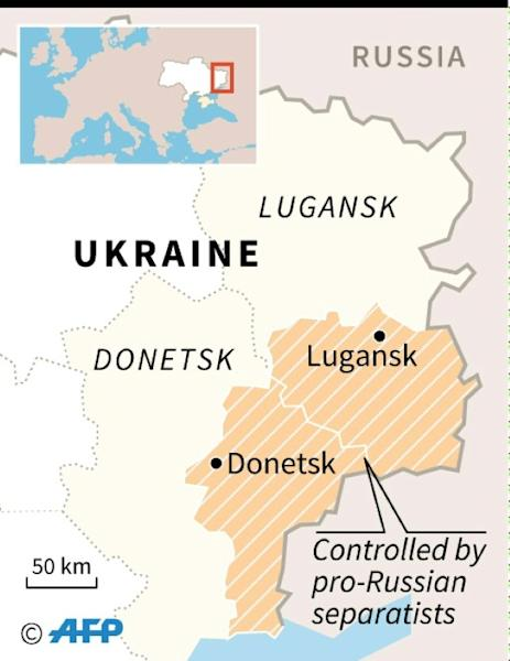 A map of eastern Ukraine locating the Russian-back insurgent regions of Lugansk and Donetsk