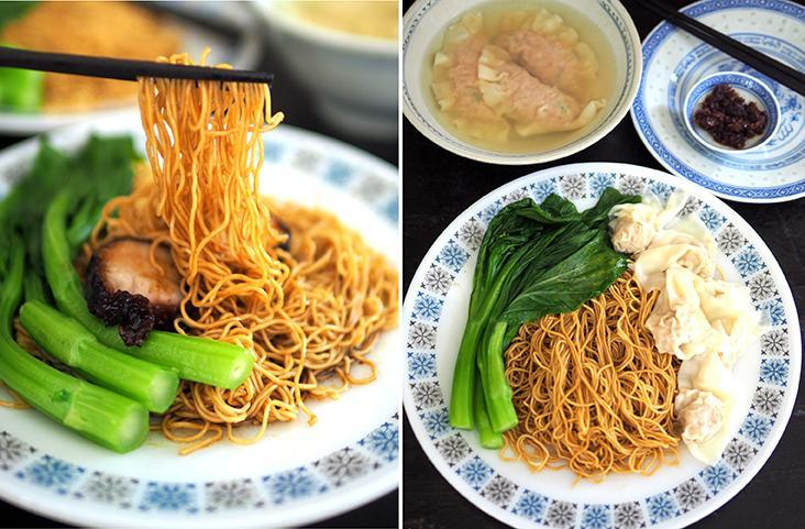 The noodles have a lovely, springy texture and is simple to cook at home (left). If you're feeling lazy, just pair your duck egg 'wantan' noodles with 'wantans' from Koon Kee Food Industries (right)