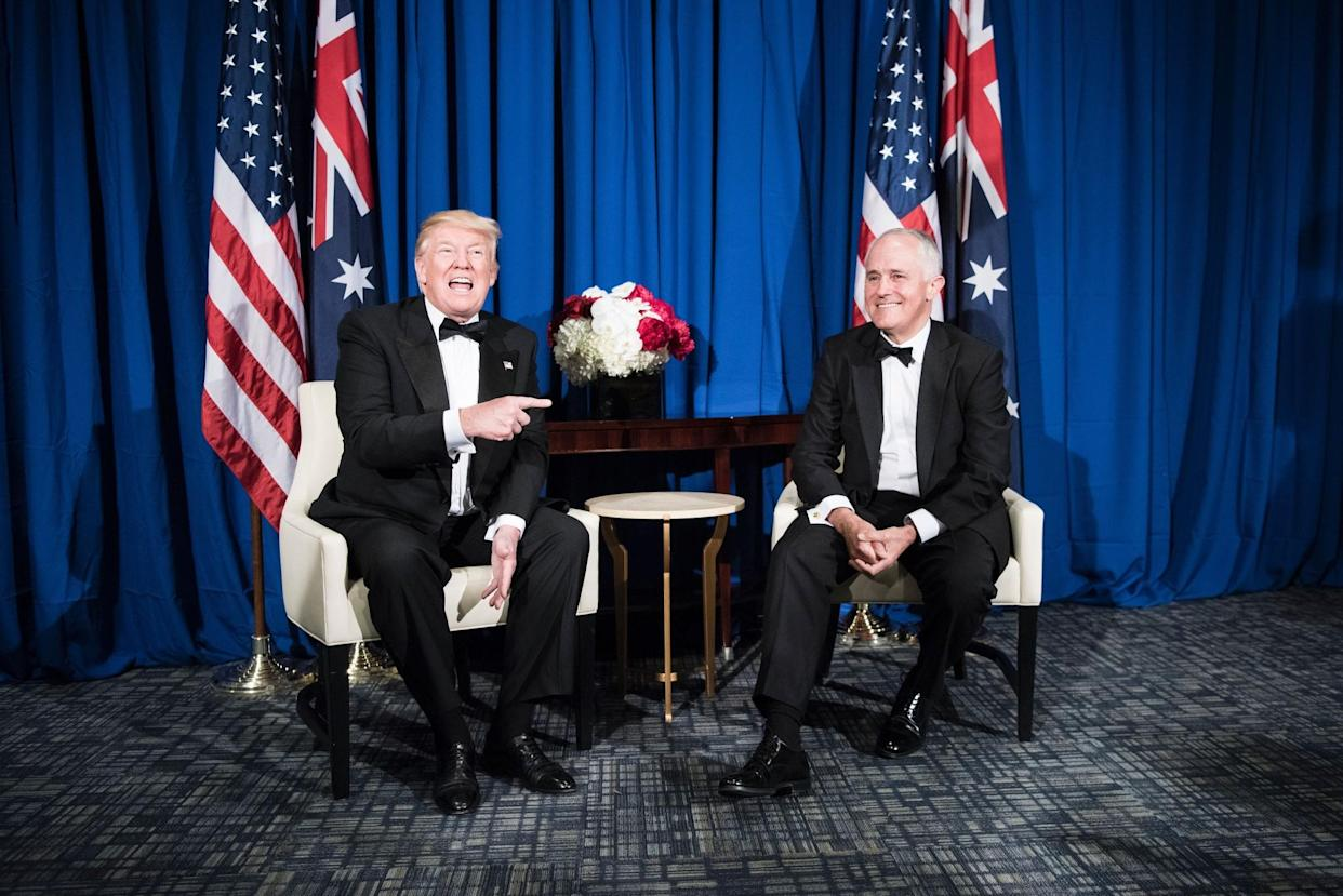 Australian Prime Minister Malcolm Turnbull listens as President Trump makes a statement to the press New York City, May 4, 2017. (Photo: Brendan Smialowski /AFP/Getty Images)