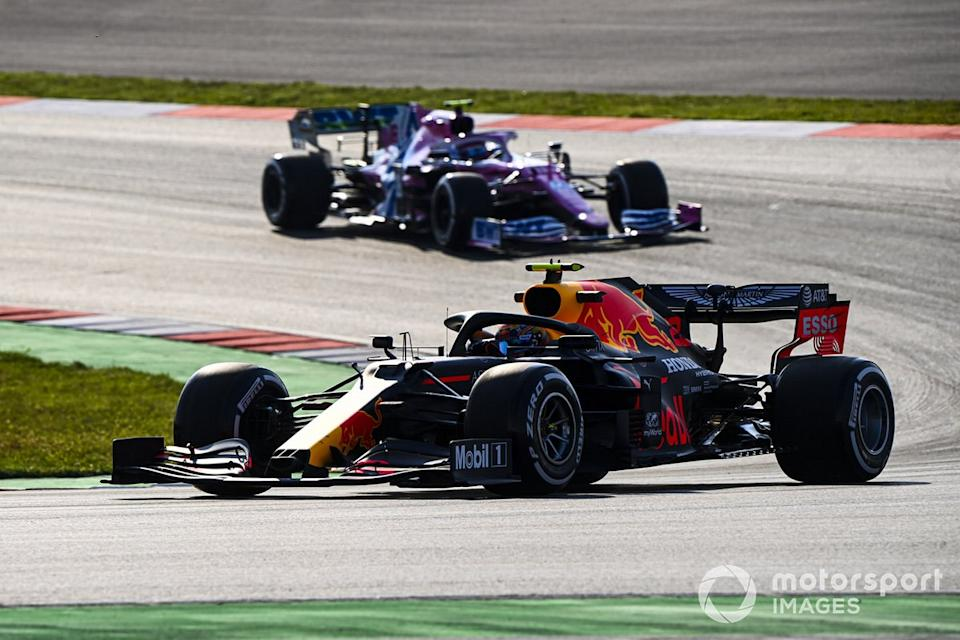 """Alex Albon, Red Bull Racing RB16, Lance Stroll, Racing Point RP20<span class=""""copyright"""">Mark Sutton / Motorsport Images</span>"""