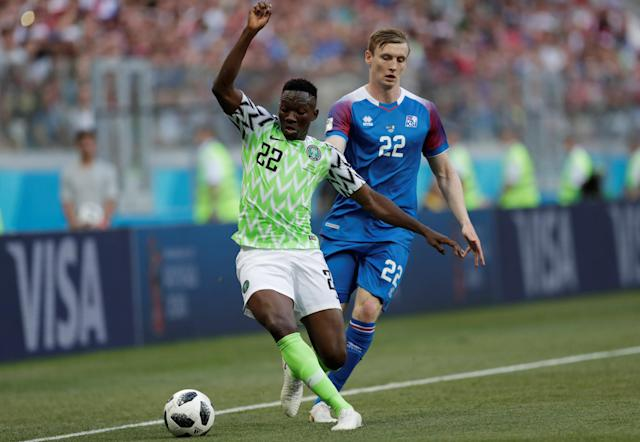 Soccer Football - World Cup - Group D - Nigeria vs Iceland - Volgograd Arena, Volgograd, Russia - June 22, 2018 Iceland's Jon Dadi Bodvarsson in action with Nigeria's Kenneth Omeruo REUTERS/Ueslei Marcelino