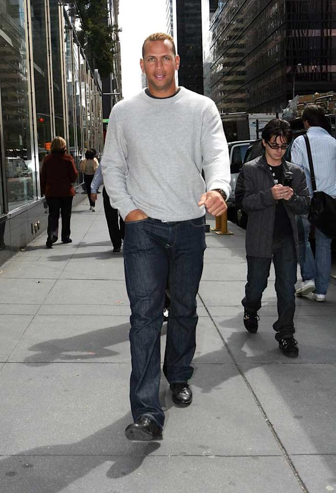 """Alex Rodriguez was seen smiling after finalizing his divorce settlement with estranged wife Cynthia Rodriguez on Friday. While terms of the settlement were not revealed, the Yankee slugger (and baseball's highest-paid player) did have a pre-nuptial agreement in place. Donnelly/Isabella/<a href=""""http://www.infdaily.com"""" target=""""new"""">INFDaily.com</a> - September 19, 2008"""