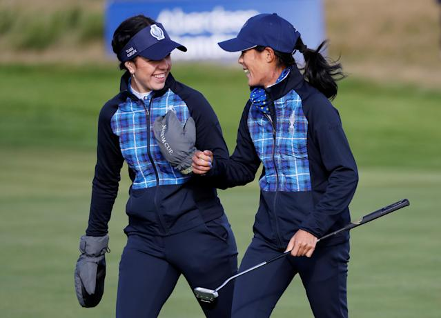 Great Britain's Georgia Hall and France's Céline Boutier beat Americans Lexi Thompson and Brittany Altomare to secure Europe's first point of the 2019 Solheim Cup