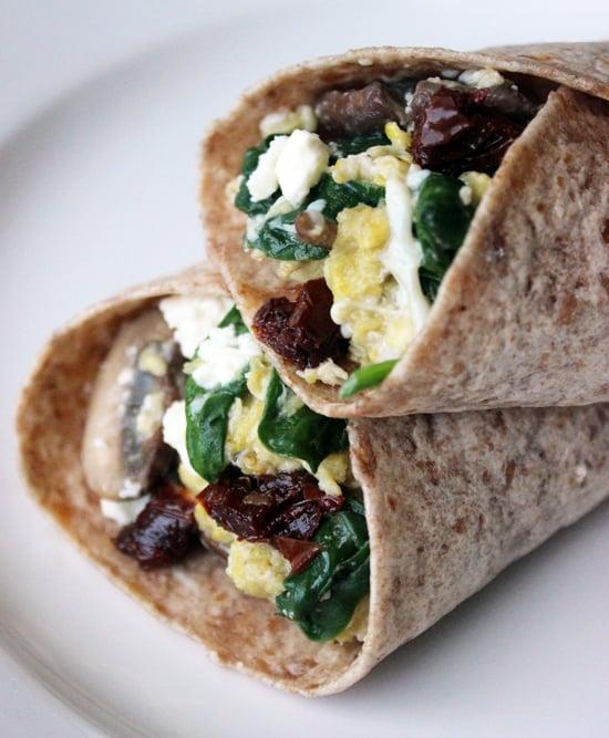 """<p>Egg whites, spinach, feta, and tomatoes marry together inside a whole-wheat wrap that's toasted to perfection. It's a great vegetarian option and is also high in protein, meaning you'll stay full until lunch.</p> <p><strong>Original Starbucks Food:</strong> <a href=""""http://www.starbucks.com/menu/food/hot-breakfast/spinach-feta-breakfast-wrap"""" class=""""link rapid-noclick-resp"""" rel=""""nofollow noopener"""" target=""""_blank"""" data-ylk=""""slk:spinach and feta breakfast wrap"""">spinach and feta breakfast wrap</a> </p> <p><strong>Homemade Version:</strong> <a href=""""https://www.popsugar.com/fitness/Starbucks-Spinach-Feta-Wrap-Recipe-31666375"""" class=""""link rapid-noclick-resp"""" rel=""""nofollow noopener"""" target=""""_blank"""" data-ylk=""""slk:six-ingredient spinach and feta wrap"""">six-ingredient spinach and feta wrap</a></p>"""