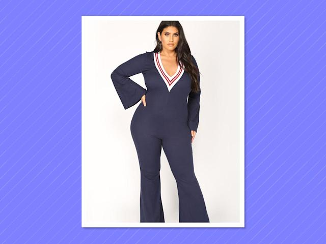 "<p>Supper Club Jumpsuit in Navy/Burgundy, $40, <a href=""https://www.fashionnova.com/collections/plus/products/supper-club-jumpsuit-navy-burgundy"" rel=""nofollow noopener"" target=""_blank"" data-ylk=""slk:fashionnova.com"" class=""link rapid-noclick-resp"">fashionnova.com </a> </p>"
