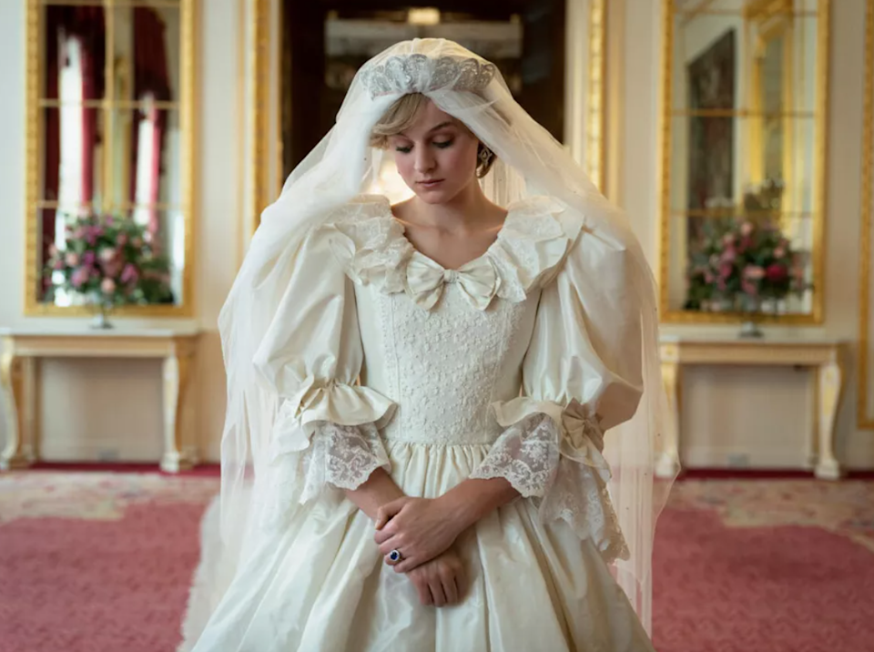<p>Corrin's Diana in the moments before her wedding to Prince Charles (Josh O'Connor)</p>Netflix