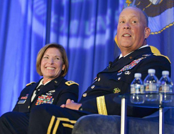 PHOTO: Lt. Gen. Laura Richardson and Lt. Gen. James Richardson discuss their dual military family life, which has spanned more than three decades in Washington, D.C. (Joint Base San Antonio)