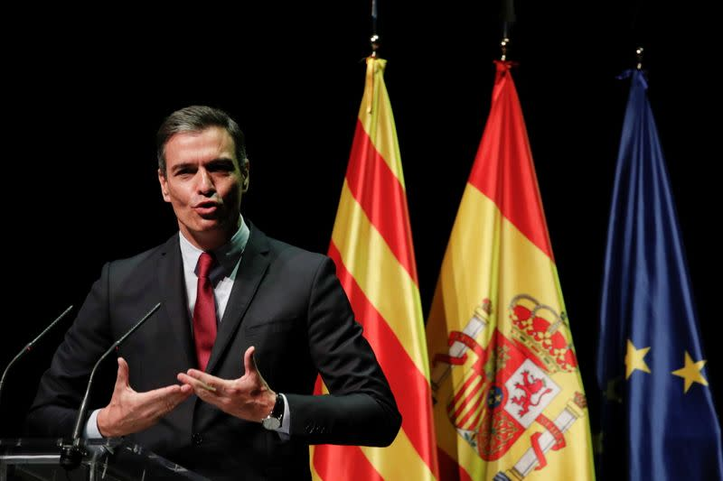 Spain's PM Pedro Sanchez speaks about plan to issue pardons, in Barcelona
