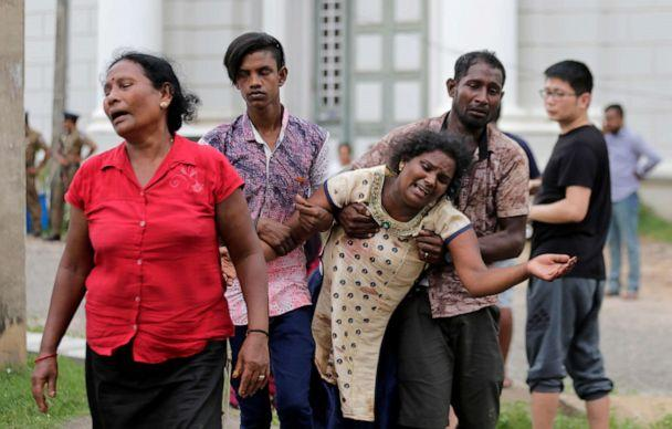 PHOTO: Relatives of a blast victim grieve outside a morgue in Colombo, Sri Lanka, April 21, 2019. (Eranga Jayawardena/AP)