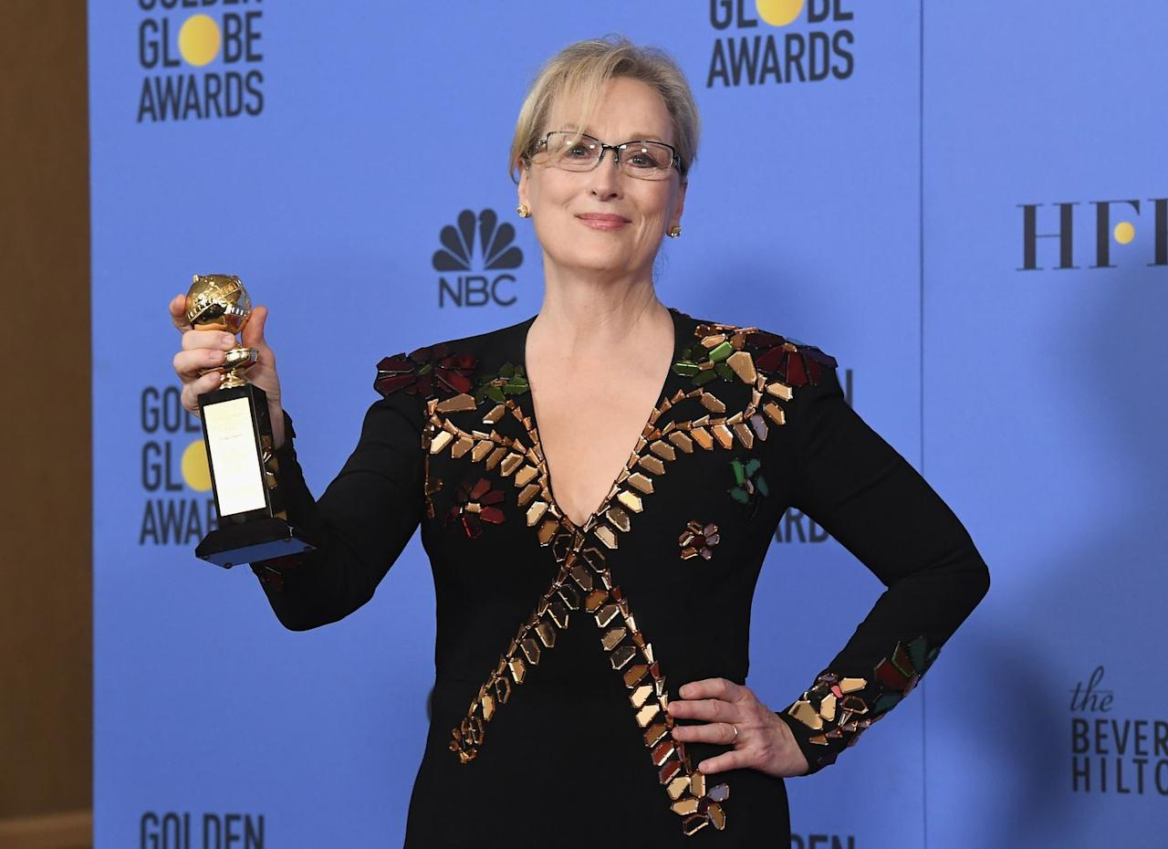 """<p>There's nothing new about Meryl Streep winning an award at an awards show—she does it all the time, and her speeches are always impressive. But her <a href=""""https://people.com/movies/a-look-back-at-meryl-streeps-fiery-2017-golden-globes-speech/"""" target=""""_blank"""">2017 Golden Globes speech</a> really blew everyone away. Streep accepted the Cecile B. DeMille award and gave a rousing speech that touched on the importance of diversity in Hollywood, some current political issues, and the necessity of news journalism. """"As my friend, the dear departed Princess Leia said to me once, take your broken heart, make it into art,"""" she said in closing, before receiving a much-deserved standing ovation. </p>"""