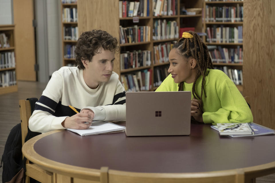 """This mage released by Universal Pictures shows Ben Platt, left, and Amandla Stenberg in a scene from """"Dear Evan Hansen."""" (Erika Doss/Universal Pictures via AP)"""
