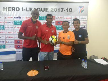From Left: Churchill Brothers' Osagie Monday, coach Alfred Fernandes, Minerva Punjab coach Wangkhem Khogen Singh and Rahul Das. Courtesy: Firstpost