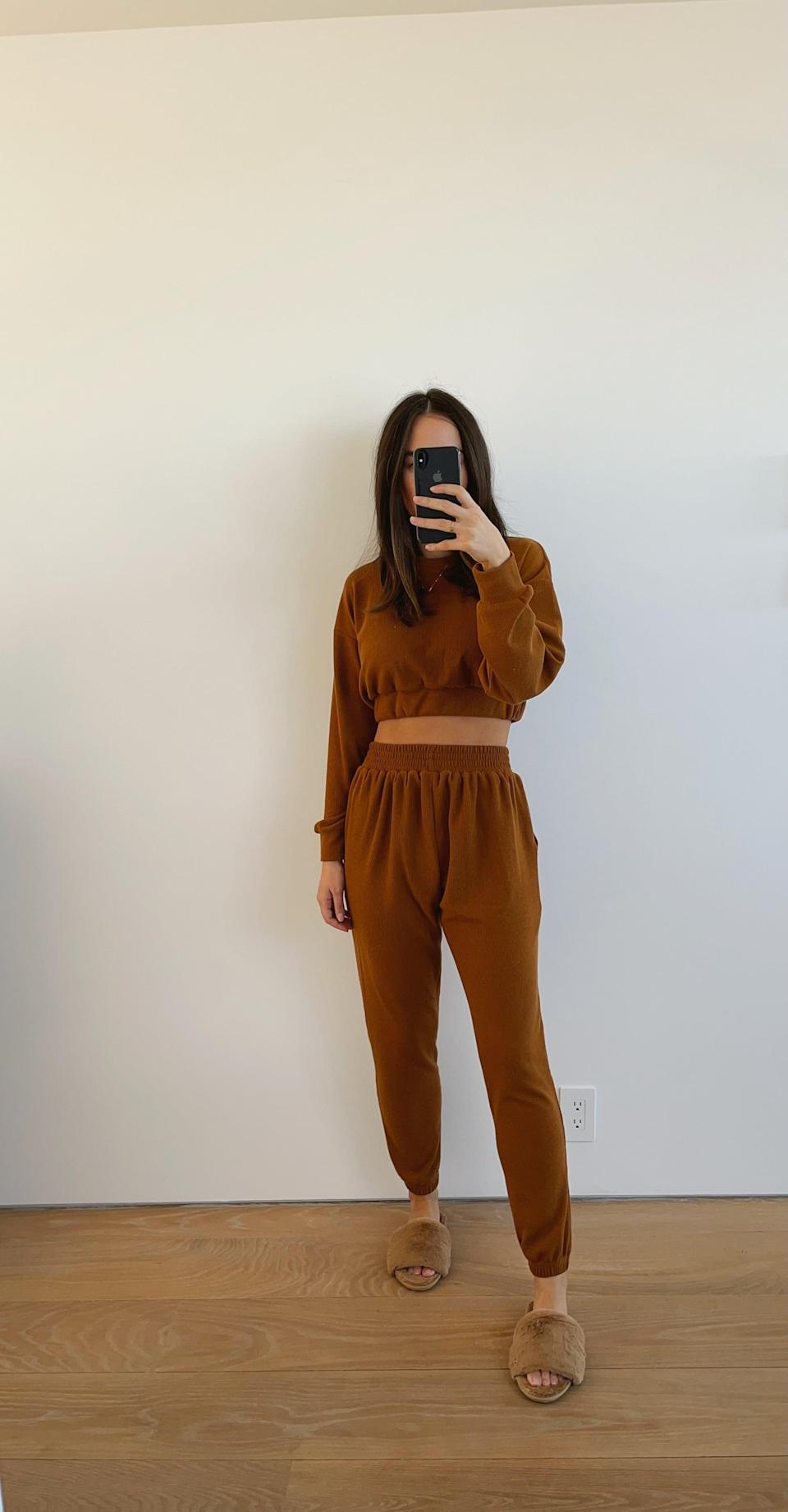 <p>Whenever I wear this light brown <span>Aoxjox Two-Piece Sweat Set</span> ($38), I always get questions about where it's from. Not only does it look super stylish, but it's made of the softest material. I've honestly considered sleeping in it, it's that good. If you're looking for one set to elevate your loungewear game, this is definitely the way to go. </p>