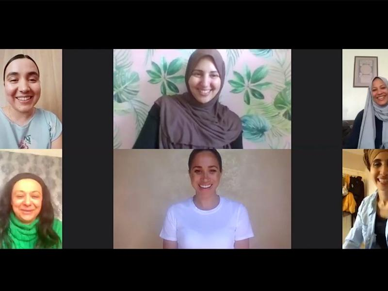Meghan Markle in a white T-shirt on a video call with the Hubb Community Kitchen
