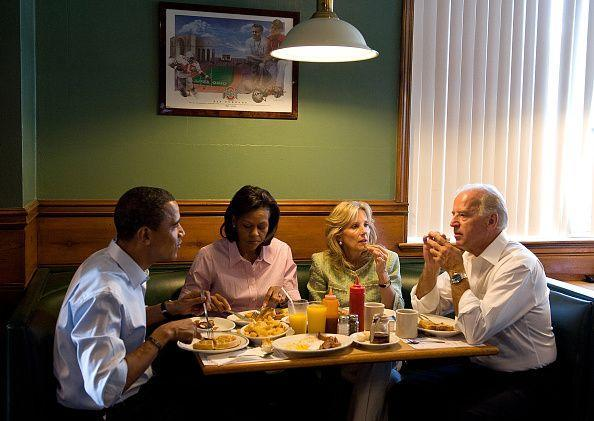 <p>Biden, Obama, and their wives, Jill and Michelle, dine at the Yankee Kitchen Family Restaurant in Boardman, Ohio on August 30, 2008. It was their second day on the campaign trail. </p>