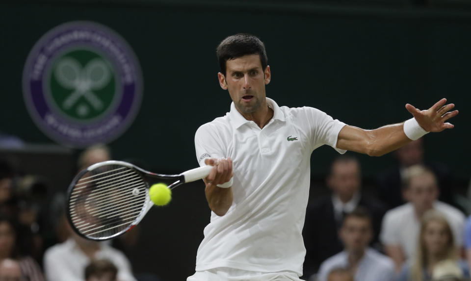 Novak Djokovic is into a Grand Slam final for the first time since 2016. (AP Photo/Kirsty Wigglesworth)