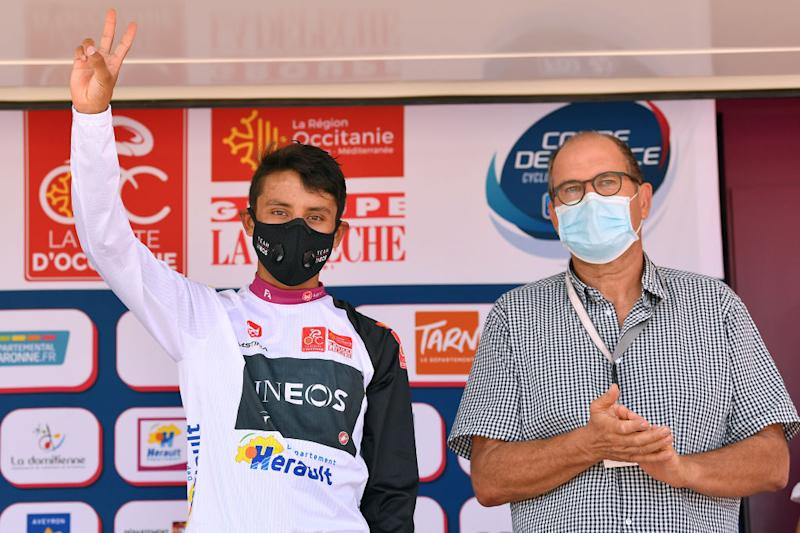 BEZIERS FRANCE AUGUST 01 Podium Egan Bernal of Colombia and Team Ineos White Best Young Jersey Celebration Hostess Covid Safe measures during the 44th La Route dOccitanie La Depeche du Midi 2020 Stage 1 a 187km stage from Saint Affrique to Cazouls ls Bziers RouteOccitanie RDO2020 on August 01 2020 in Beziers France Photo by Justin SetterfieldGetty Images