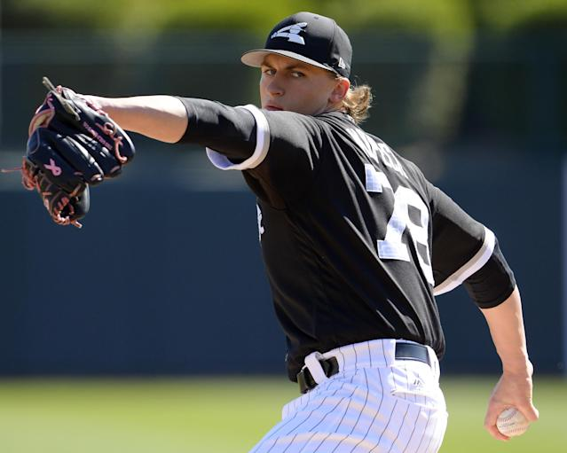 At long last, Michael Kopech will make his White Sox debut on Tuesday against the Twins. (Getty Images)