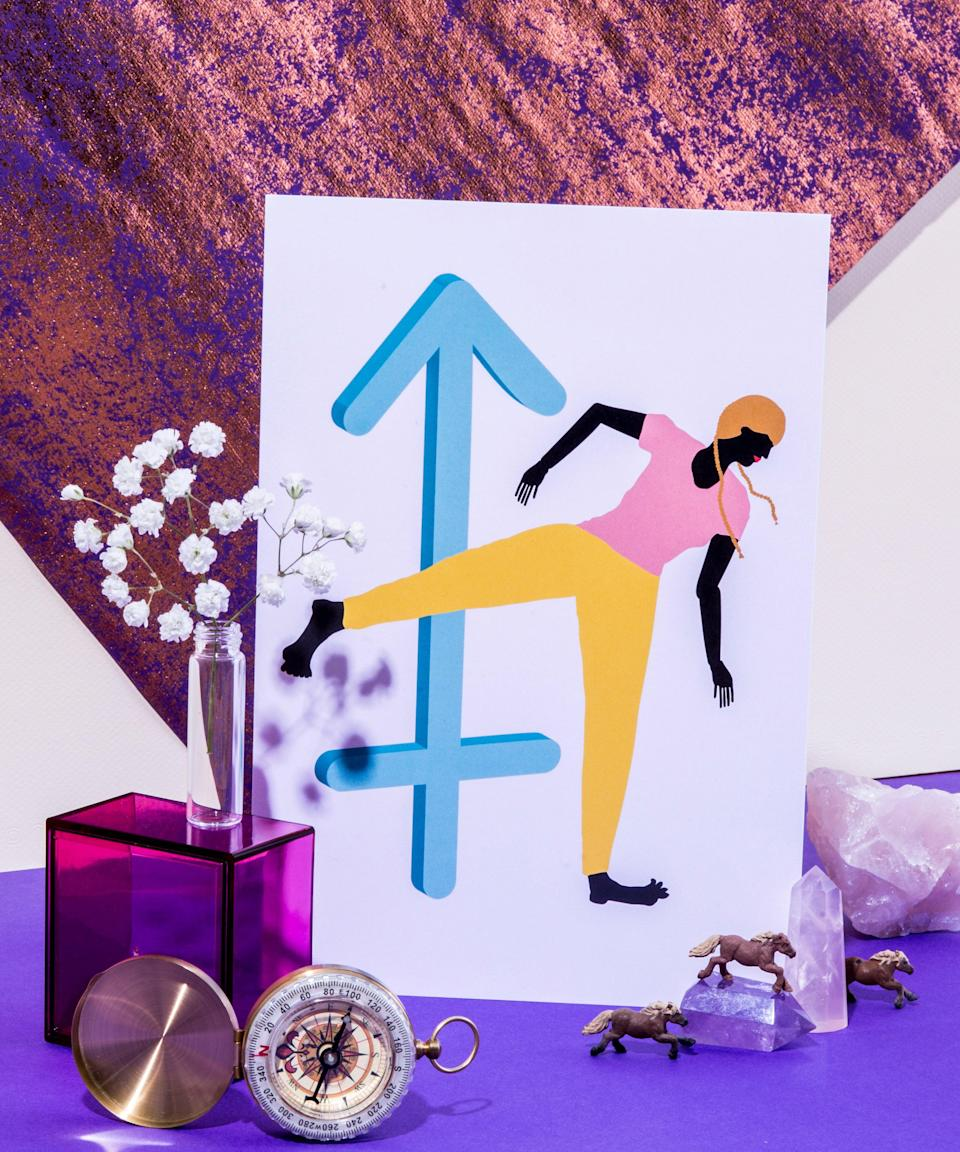 """<h3>Sagittarius <br></h3>You will feel a sense of emotional relief the moment <a href=""""https://www.refinery29.com/en-us/2021/01/10283692/when-is-mercury-retrograde-2021-dates-times"""" rel=""""nofollow noopener"""" target=""""_blank"""" data-ylk=""""slk:Mercury retrograde ends on June 22"""" class=""""link rapid-noclick-resp"""">Mercury retrograde ends on June 22</a>, and an even deeper calmness when it leaves its post-retrograde shadow on July 7. All of your current relationship issues will go away, as well as your pesky exes who resurfaced over the past several weeks. If you're single then, the Cancer new moon on July 9 is the ideal time to hit the dating apps hard. You may meet a fling on July 13, when the Venus and Mars alignment brings a temporary hookup. Have fun and date around for now. Around August 22's blue moon, however, you'll connect with someone on a deeper level. <span class=""""copyright"""">Photographed by Megan Madden.</span>"""