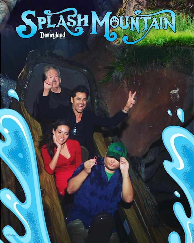 "<p>A longtime fan of the Disney universe, Stamos enjoyed a special trip to the <a href=""https://www.instagram.com/p/BWp1_ucAr4J/?taken-by=johnstamos"" rel=""nofollow noopener"" target=""_blank"" data-ylk=""slk:Splash Mountain ride"" class=""link rapid-noclick-resp"">Splash Mountain ride</a> with a Disney Imagineer, Tony Baxter. ""My whole life I've dreamt about riding Splash Mountain w/ the man who created it- then I blocked his face."" Ha. (Photo: John Stamos via Instagram) </p>"
