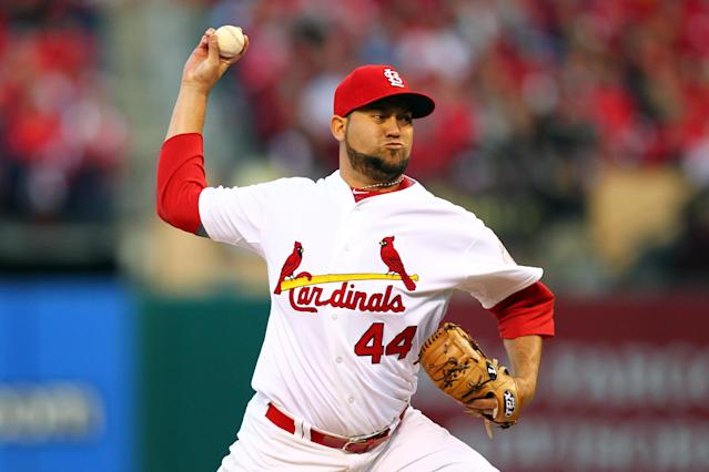 ST LOUIS, MO - OCTOBER 08: Edward Mujica #44 of the St. Louis Cardinals pitches in the seventh inning against the Washington Nationals during Game Two of the National League Division Series at Busch Stadium on October 8, 2012 in St Louis, Missouri. (Photo by Dilip Vishwanat/Getty Images)